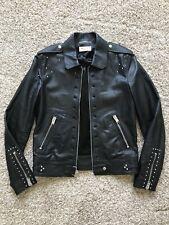 Saint Laurent Paris 14 SS Men Studded Black Lamb Leather Jacket 46 SLP YSL Hedi
