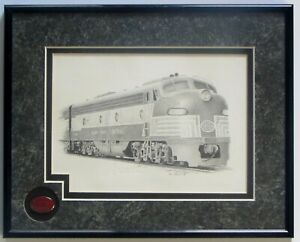Train Print Matted and Framed 8 1/2 X 11 New York Central System The Train Store