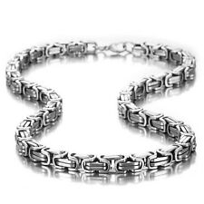 Men's Ffashion Jewelry Silver Stainless Steel 6mm Byzantine Necklace Chain 22""