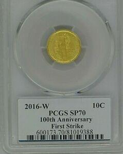 2016-W GOLD 1/10 Oz. Mercury Dime 100th Anniv PCGS SPECIMEN PROOF-70 1 of 1000 3