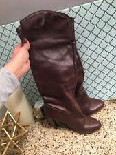 "Zara Red Brown Knee OTK Brown Leather Hot Sexy Hi High 4"" Heel Boots Sz 38 / 7.5"