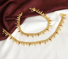 Indian Bollywood Kundan Gold Plated Payal Anklet Women Bridal Wedding Jewelry