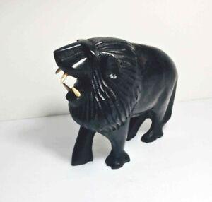 "Hand Carved LION Black Ironwood FIGURINE 6"" Long KENYA AFRICA"