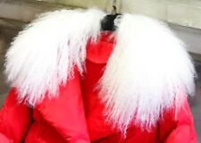 "White Real Wonderful Farm mongolian lamb fur collar /scarf Black 55cm/21.6"" US"