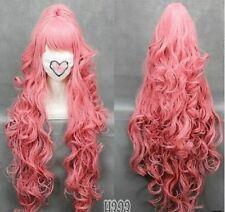 HOT 100cm VOCALOI D-Megurine Luka PINK Anime Cosplay wig+1Clip On Ponytail