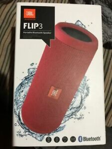 NEW JBL FLIP-3 SPLASHPROOF PORTABLE BLUETOOTH SPEAKERPHONE WIRELESS SPEAKER-Red