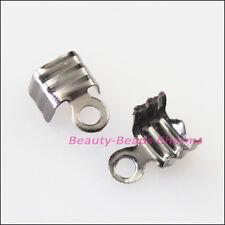 200Pcs Necklace/Cord Crimp End Caps W/Loop 4x9mm Gunmetal Black Connectors
