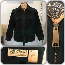 VTG 60s 70s Cursive LL Bean Plaid Hunting Mackinaw Jacket Coat Large  Work Chore