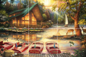nature country view deer cabin boats river fishing ceramic tile mural backsplash