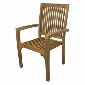 Outdoor Furniture Solid Teak Wood Stackable Arm Chair Seat Garden