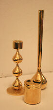Vergoldete dänische Mid-Century Kerzenhalter, Vase und Feuerzeug Hugo Asmussen