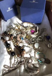 Job Lot Vintage Costume Jewellery Bundle Necklace Earrings Broken Tangled Boxes