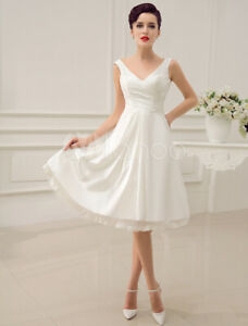 Simple Wedding Dress Knee-Length Backless Straps Lace Bridal Dress New Size 12