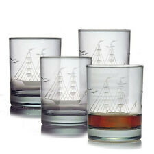 Clipper Ship Double Old Fashioned Glasses Set of 4 Fathers Day Bday Gift