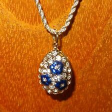 Genuine Russian ART FABERGE inspired Silver Swarovsky Crystals EGG pendant chain