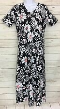 QVC Denim & Co Short Sleeve V-Neck Floral Print Long Knit Dress Size XS A214532