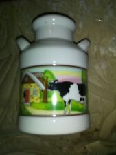 Porcelain Container Shaped Like A Milk Can With A Picture Of A Cow In Barn On It