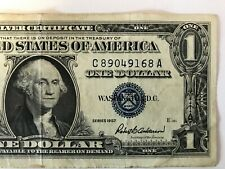 1957 Series $1 One Dollar Silver Certificate US Note Blue Seal  S/N C89049168A.