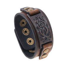 Handmade Punk New Distressed Vintage Engraving Men Leather Snap Button Bracelets