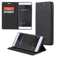 Custodia per Huawei P8 Cover Case Portafoglio Wallet Etui Nero
