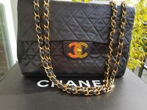 AUTH CHANEL Matelasse Jumbo XL CC Double Chain Shoulder Bag - Black