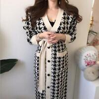 Womens Korean Fashion Houndstooth V-Neck Belt Long Knitted Sweater Cardigan SKGB