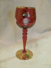 Famosa LPW Vienna Austria cranberry white wine glass applied flowers gold rims