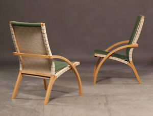 Vintage retro green woven bentwood Danish lounge chair armchair mid century