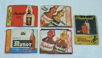 Lot de 5 étiquettes Allumettes GITANES ST RAPHAËL MARTINI Manor Alcool bois