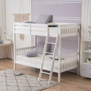 Wooden Bunk Beds Twin Over Twin Size with Ladder and Guard Rail for Kids White