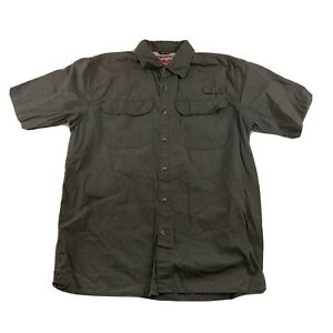 Wrangler Mens M Camp Hiking Fishing Short Sleeve Shirt Dark Gray Mesh Lined