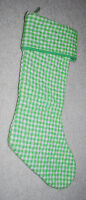 "Vintage Christmas Stocking Green White Gingham Plaid 20"" Handmade Unique Holiday"