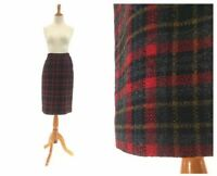 Size S Vintage Pendleton skirt in red plaid womens 1960s 60s small pencil wiggle