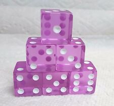 DICE KOPLOW 19mm *6/SET* TRANSPARENT ORCHID WITH WHITE PIPS - SQUARED BIG SIZE