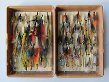 "Fox Box Fly Box 6"" x 4"" x 1 3/4"" containing a Quantity of Salmon Flies"