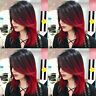Women full wig short straight synthetic hair black red ombre layer bob wigs