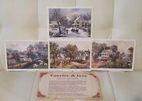"""Set of 4 Vintage Currier & Ives Lithographs prints for framing art 5"""" x 7"""""""