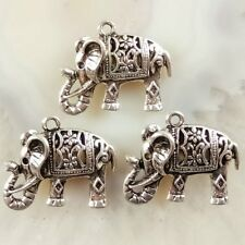 10Pcs Carved Tibet Silver Elephant Pendant Bead 25x18x6mm JC364