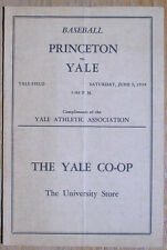 Vintage 1939 Yale vs Princeton Baseball Program, Joe Wood, Eddie Collins Jr Nice