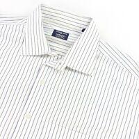 VTG Gitman Bros Mens French Cuff Dress Shirt White Gray/Blue Stripes • 17.5 | 35