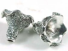 2 Antique Silver Pewter Petal Bell Flowers Focal Pendant Beads
