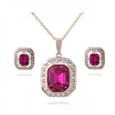 18K ROSE GOLD PLATED & GENUINE PINK CZ & AUSTRIAN CRYSTAL NECKLACE/EARRING SET