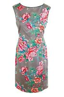 Oasis Pencil Wiggle Dress Grey Pink Bold Floral Tailored Lined Wedding Party 12