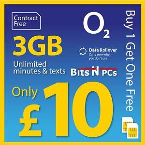 O2 £10 Big Bundle PAYG SIM Card -Triple cut SIM Card BUY ONE GET ONE FREE