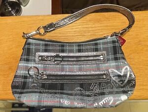 Coach POPPY Tartan Plaid Silver Graffiti Wristlet Clutch Purse Baguette