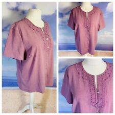 DAMART Ladies Lilac Top Size 26 Short Sleeve Embroidered Detail Buttons Plus