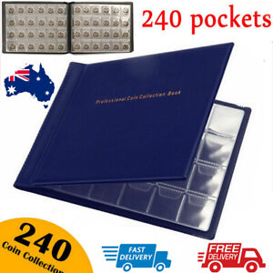 240 Coin Collection Album Storage Book Case Folder Holder Penny Money Collecting