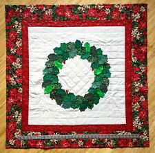 """Handmade by Mom, 3D QUILTED CHRISTMAS WREATH WALL HANGING/Table Cover, 43"""" x 43"""""""