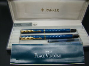 Vintage Parker Place Vendome Fountain & Ball Pen Royal Blue - Never used