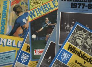 Wimbledon HOME programmes 1970's 1980's League & Cup
